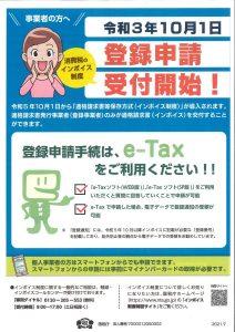 消費税インボイス制度の登録申請受付開始!しました。